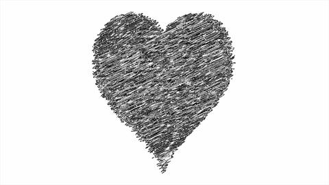 Hand drawn black and white heart. Isolated symbol of love, heart in sketch art. Cartoon love for Animation