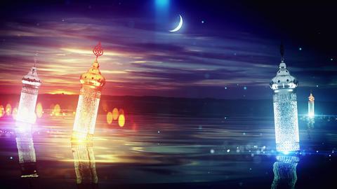 Ramadan moon lake background Animation