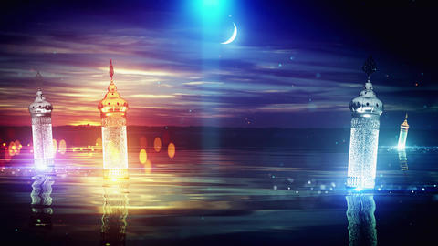 Ramadan moon lake background, Stock Animation