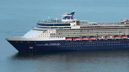 Expedition Cruise Liner Celebrity Millennium in Pacific Ocean. Zoom in Footage