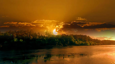 005 landscape of sunset on a river Animation