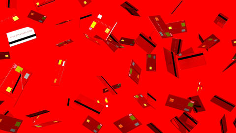 Red Credit cards on red background Animation