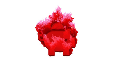 Symbol piggy bank inflames with dark fire, then burns. In - Out loop. Alpha channel Premultiplied - Animation