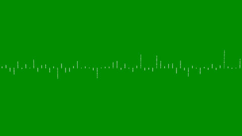 Digital audio spectrum, waveform equalizer on green screen. Simulation of rhythm graphic for music Animation