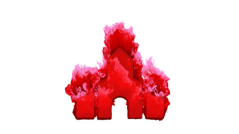 Symbol place of worship inflames with dark fire, then burns. In - Out loop. Alpha channel Animation
