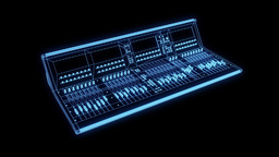 Sound Control Console Wireframe Hologram in Motion Animation