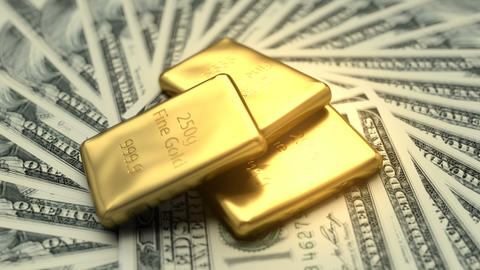 Fine gold bars and 100 USD banknotes Animation