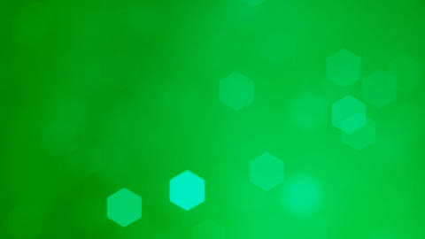 Abstract soft blurred hexagonal bokeh lights background animation. 4k Resolution, Glowing Green Animation