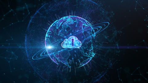 Secure Data Network Digital Cloud Computing Cyber Security Concept. Earth Element Furnished by Nasa Animation