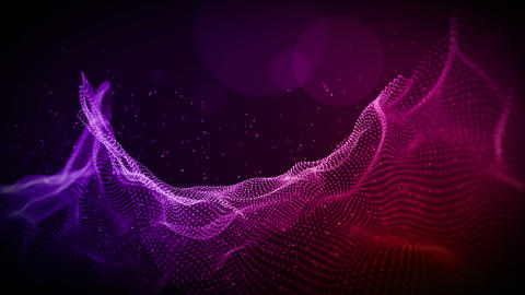 Abstract purple color digital particles wave with bokeh and light motion background Videos animados