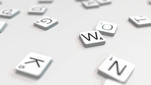 WIN word being made with scrabble letters. Editorial 3D animation ライブ動画