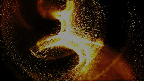 Abstract gold color digital particles flow motion background Stock Video Footage