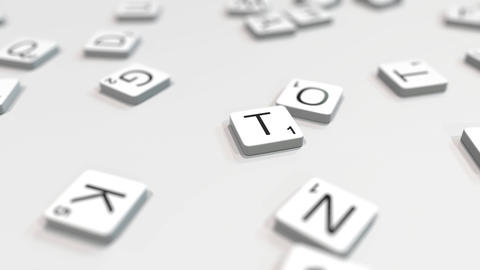 THINK word being composed with scrabble letters. Editorial 3D animation ライブ動画