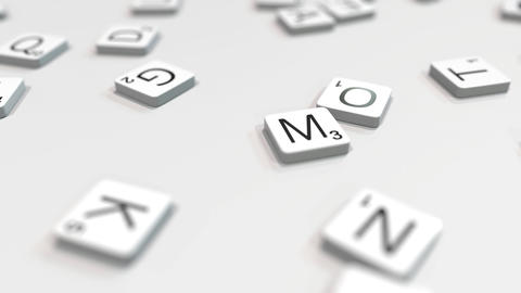 MIND word being composed with scrabble letters. Editorial 3D animation ライブ動画