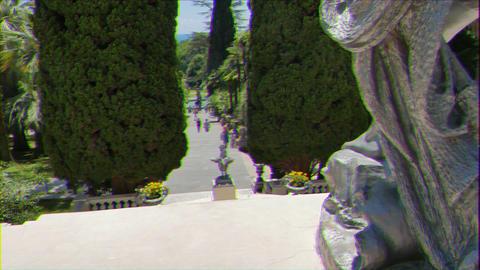 Glitch effect. Statue of cock. Arboretum Sochi, Russia GIF