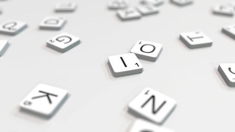 INVENT word being composed with scrabble letters. Editorial 3D animation ライブ動画