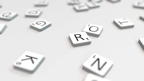RETRO word being composed with scrabble letters. Editorial 3D animation ライブ動画