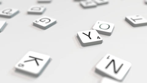 YES word being composed with scrabble letters. Editorial 3D animation ライブ動画