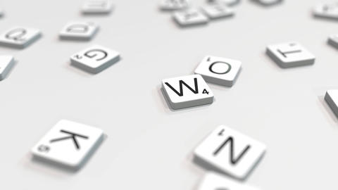 WRITE word being made with scrabble letters. Editorial 3D animation ライブ動画