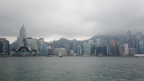 Modern buildings view from Victoria harbour in Hong Kong landmark GIF