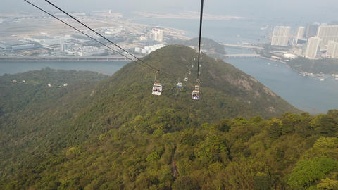 Gondola cable car with mountain view landscape Footage