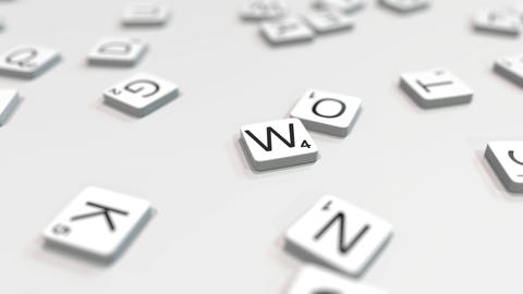 WINTER word being composed with scrabble letters. Editorial 3D animation ライブ動画