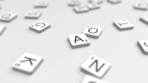 Making ABCDEF text with scrabble letter tiles. Editorial 3D animation ライブ動画