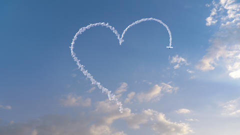 Airplane draws Heart shape on the sky Animation