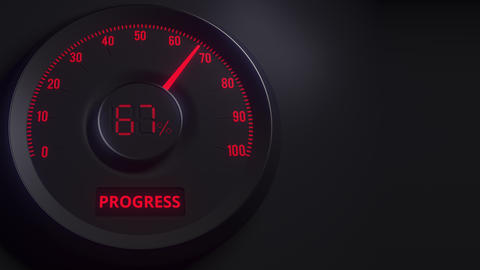 Red and black progress meter or indicator, 3D animation Footage