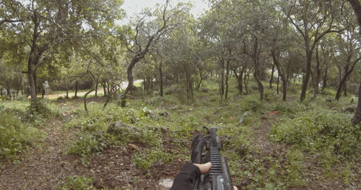 Weapon GoPro POV footage of a squad of Israeli commando soldiers during combat Footage