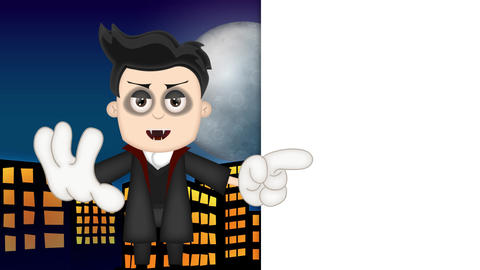 Ben Boy Funny Cartoon Character Toon Vampire with blue town background Animación