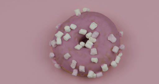 Sweet donut rotating on pink background. Top view. Tasty, fresh donut Footage