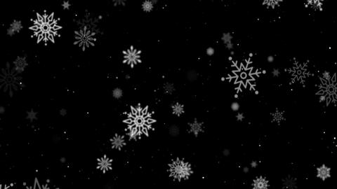 Falling patterned snowflakes of different sizes Archivo