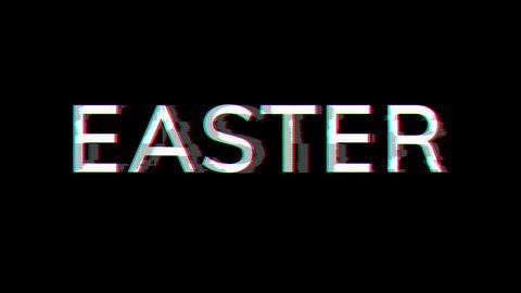 From the Glitch effect arises celebration EASTER. Then the TV turns off. Alpha channel Premultiplied Animation