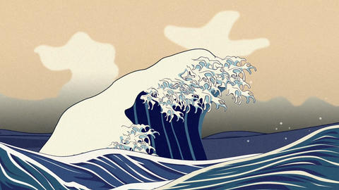 Ukiyoe, the great wave animation, Loop Animation