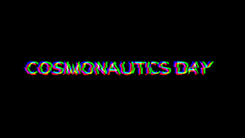 From the Glitch effect arises celebration COSMONAUTICS DAY. Then the TV turns off. Alpha channel Animation