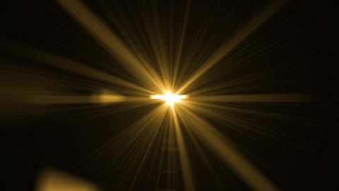 Yellow, orange light rays on black background. Flare, sunlight, shiny lens light Animation