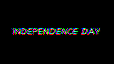 From the Glitch effect arises celebration INDEPENDENCE DAY. Then the TV turns off. Alpha channel Animation