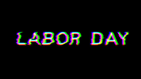 From the Glitch effect arises celebration LABOR DAY. Then the TV turns off. Alpha channel Animation