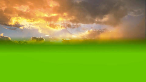 08 sunset sky on green screen background Animation