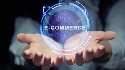 Hands show round hologram E-commerce Live Action