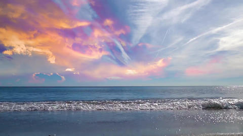 05 landscape of beautiful sunset sky and waves on a beach Animation