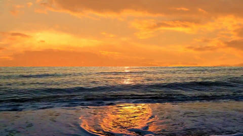 02 landscape nature of sunseat gold sea and sky Animation
