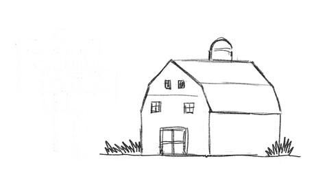 [alt video] American Farm Barn Sold Sign Drawing 2D Animation