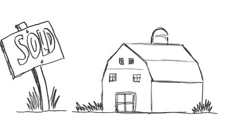 American Farm Barn Sold Sign Drawing 2D Animation Animation