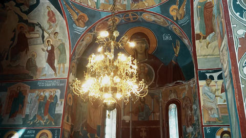 A beautiful chandelier from the 19th century Orthodox church Footage