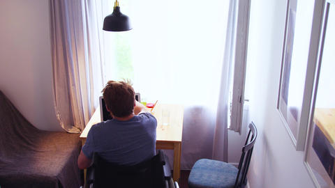 Disable man in wheelchair in the room Footage