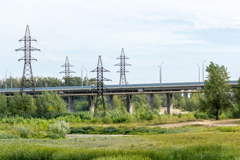 Road bridge passing through the field Fotografía