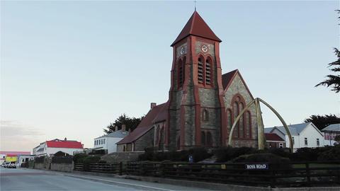 Church In Port Stanley, Falkland Islands (Malvinas) Footage