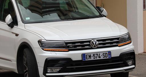 Luxury Volkswagen Tiguan Close Up View Live Action